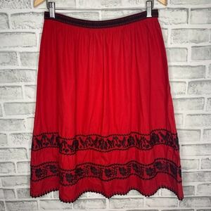 5/48 Red Embroidery Midi Skirt Size 10 D3-43